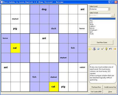 Word Sudoku to Learn English